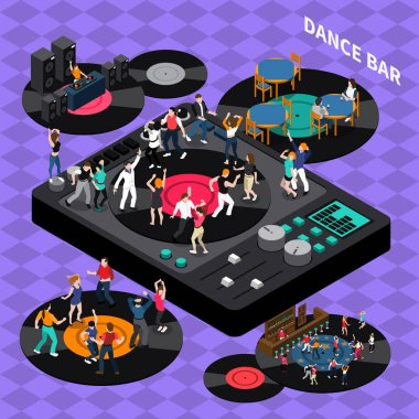 Dance Club Bar Isometric Composition Poster