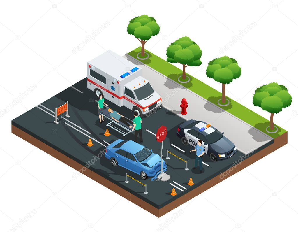 Isometric Car Accidents Composition