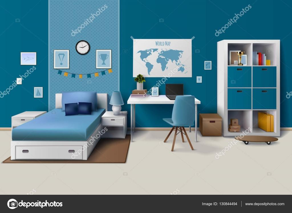 Tiener jongen kamer interieur realistisch beeld u2014 stockvector