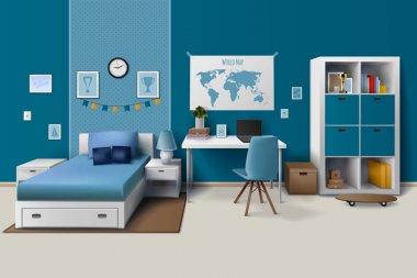 Teen Boy Room Interior Realistic Image