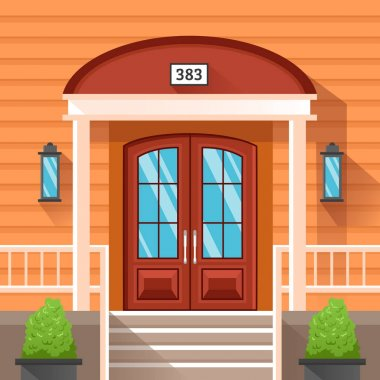 Front Door Of House Decorated By Siding