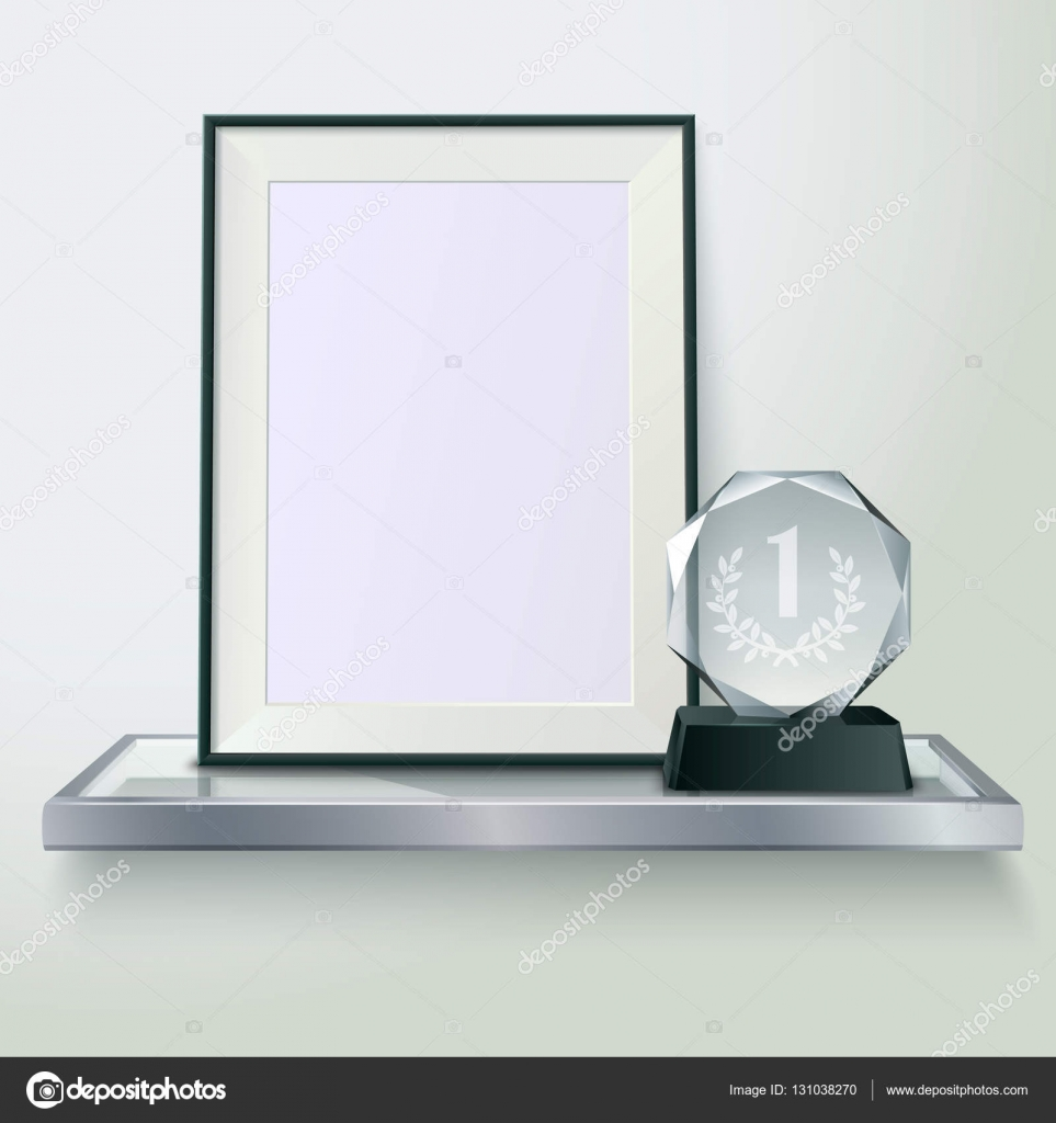 Trophy And Frame Realistic Composition Image — Stock Vector ...
