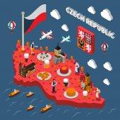 Česká republika turistické atrakce izometrická mapa