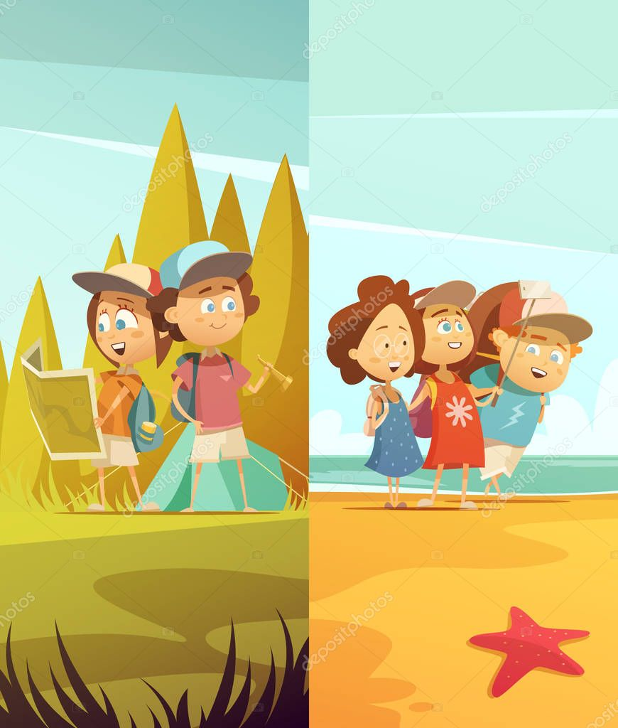 Camping Kids Vertical Banners Set
