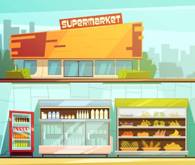 Supermarket 2 Retro Cartoon Banners Set