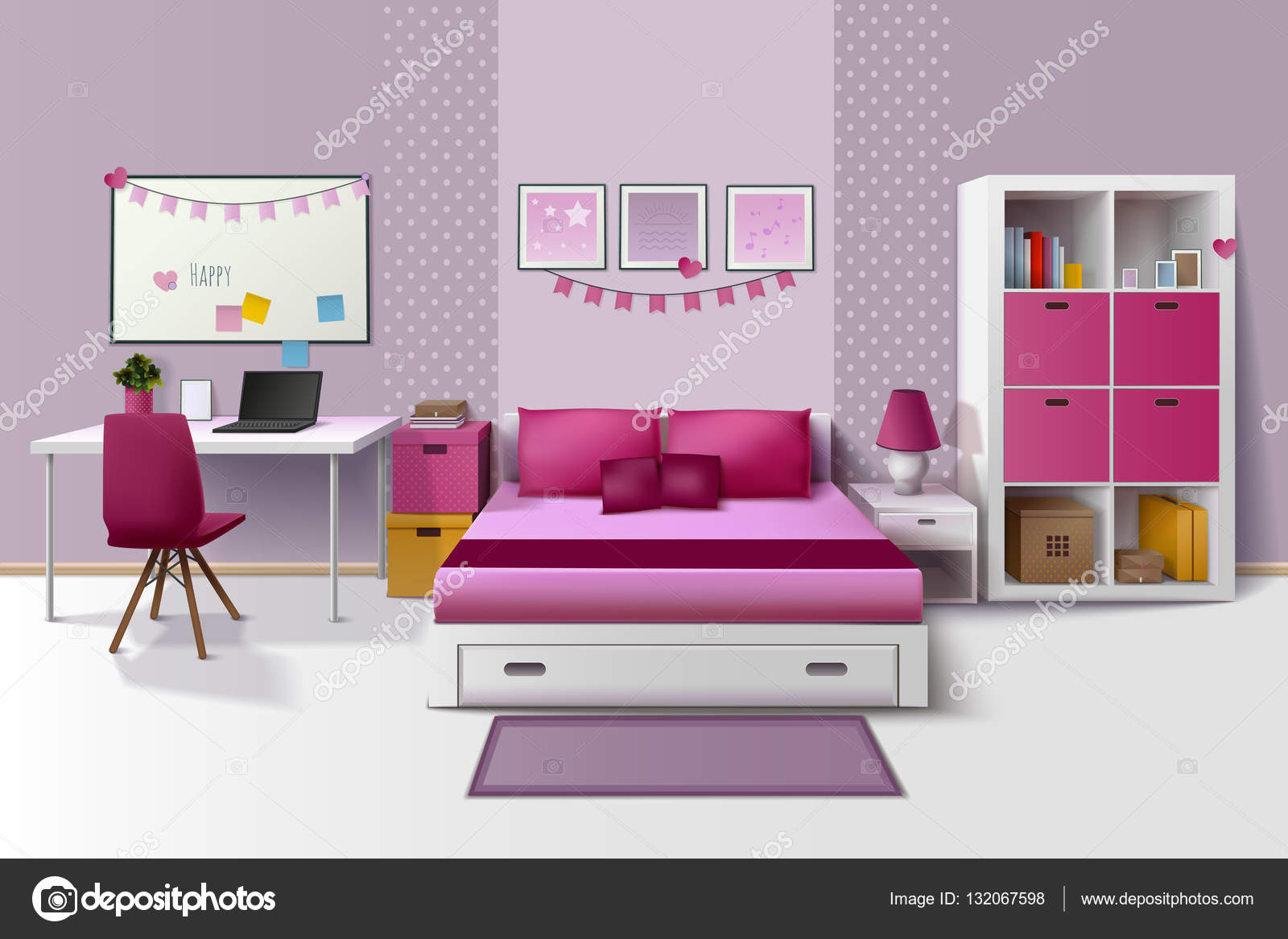 Tiener kamer interieur realistisch beeld van het ipodmeisje