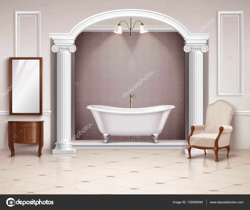 Bathroom Interior Realistic Design Stock Vector C Macrovector 132069494
