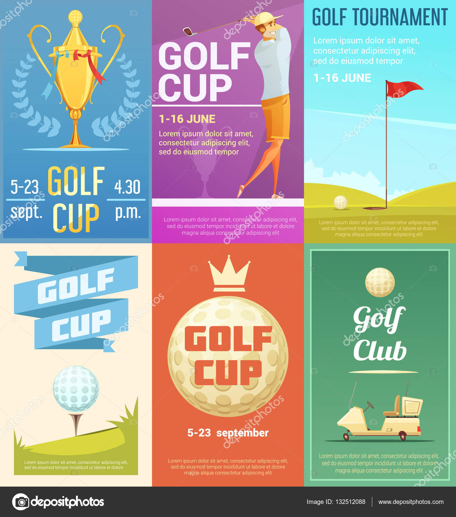 set de 6 affiches r tro golf club image vectorielle macrovector 132512088. Black Bedroom Furniture Sets. Home Design Ideas