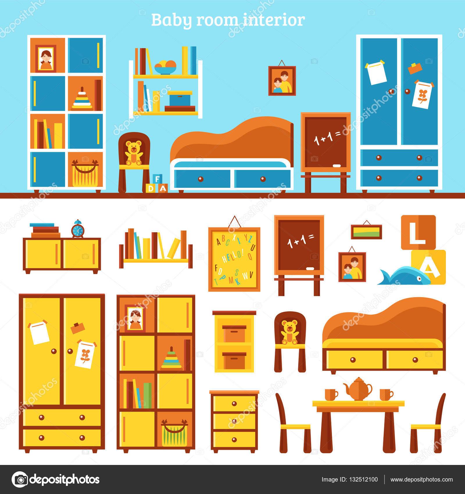 Infografía de muebles habitación bebé — Vector de stock ...