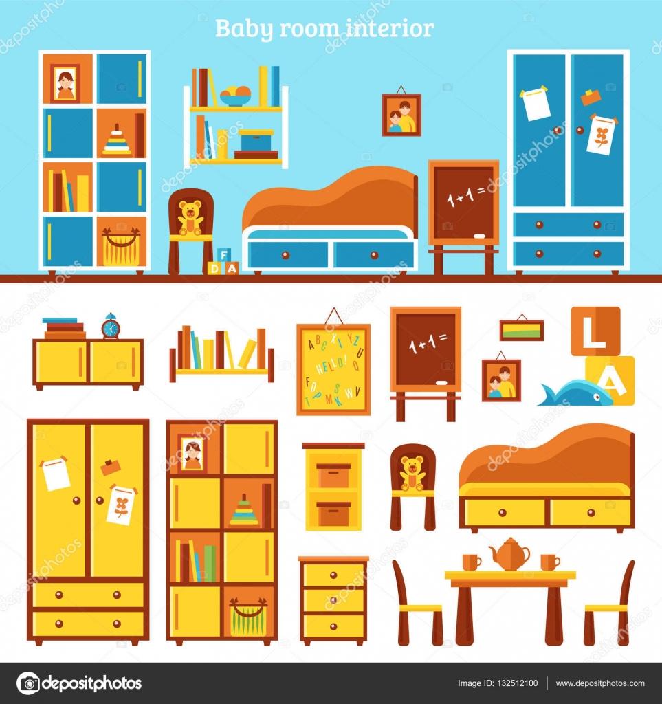 Infograf a de muebles habitaci n beb vector de stock for Stock de muebles
