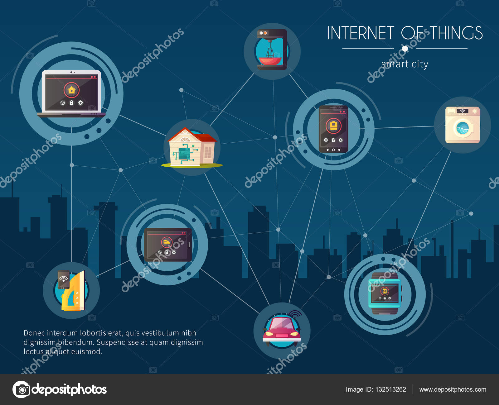 Internet Of Things Kitchen Background Poster — Stock Vector ...