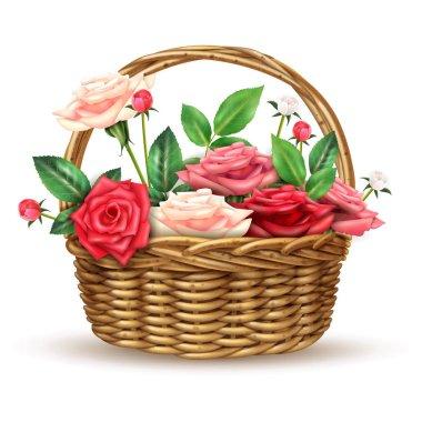 Roses Flowers Wicker Basket Realistic Image
