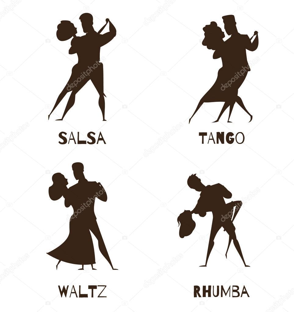 Dancing Couples Black Retro Cartoon  Icons