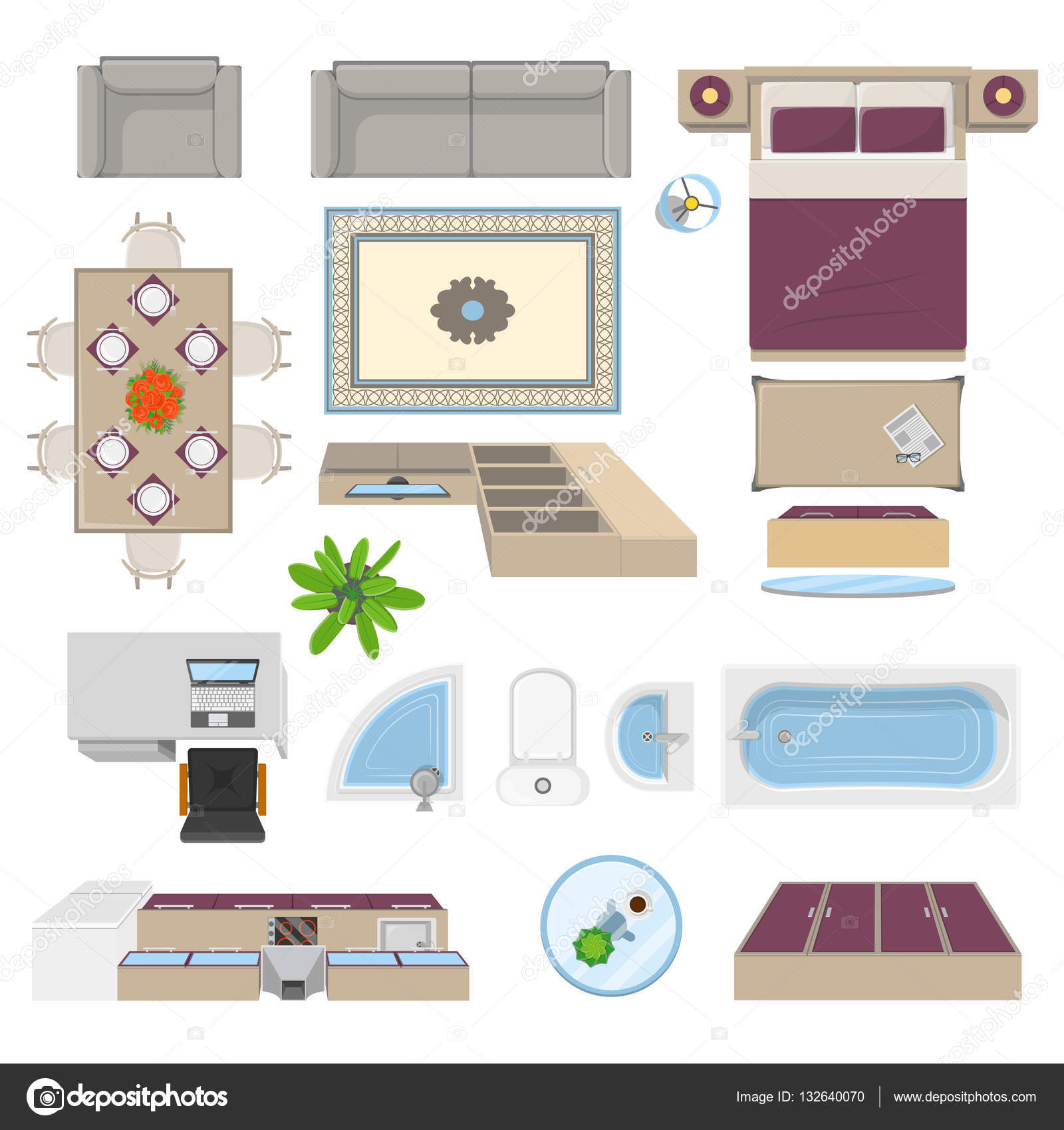Interior Elements Top View Position Vector Graphics