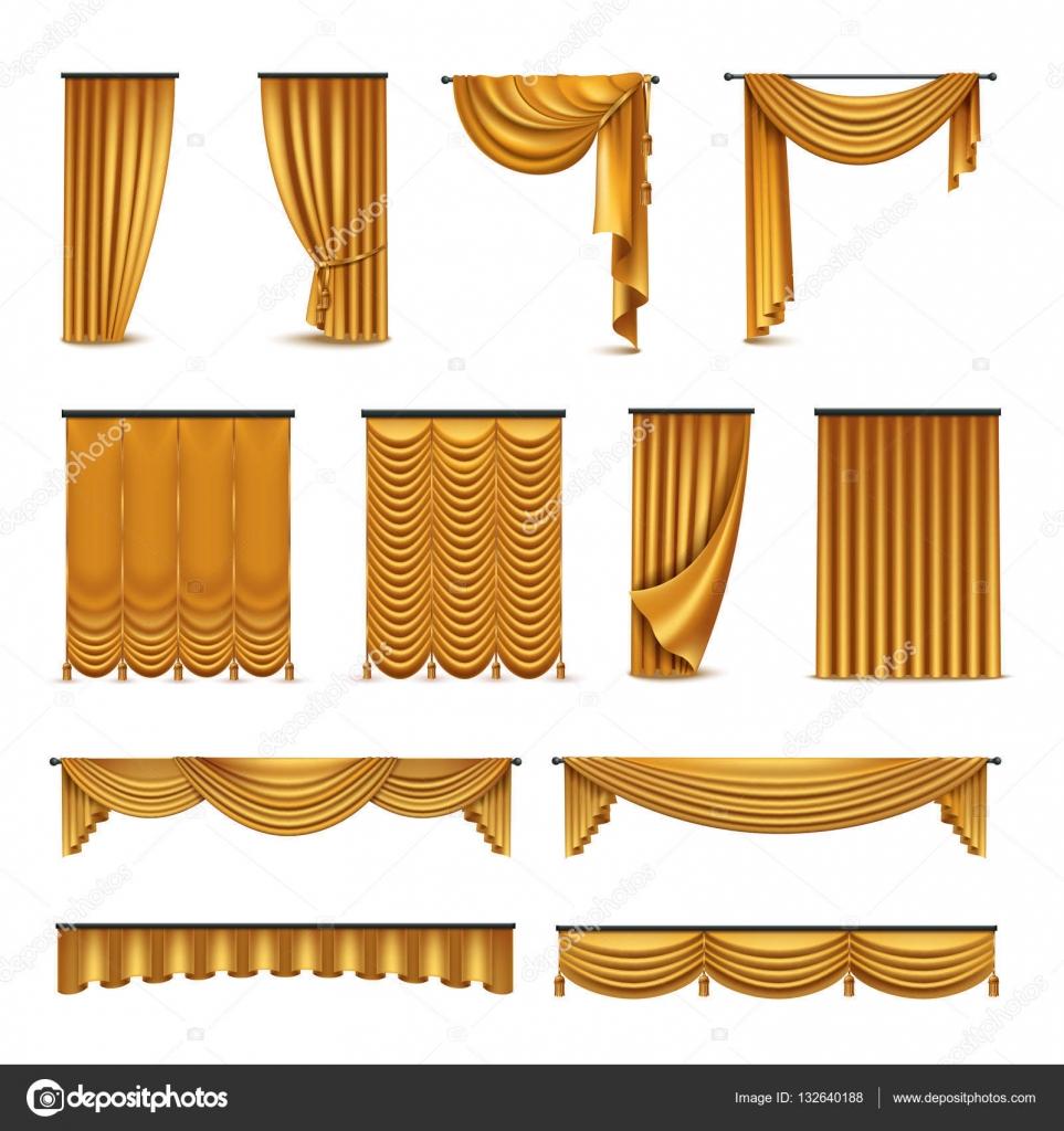 gouden gordijnen draperie realistische icons collectie stockvector
