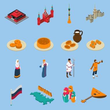 Russia Isometric Touristics Icons Set