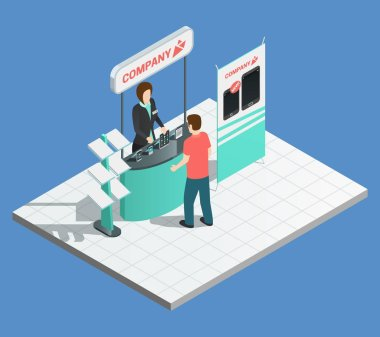 Exhibition promotion stands isometric composition