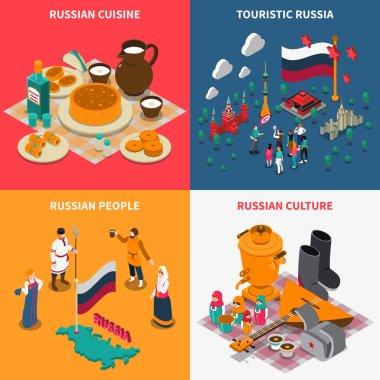 Russian Isometric Touristic 2x2 Icons Set