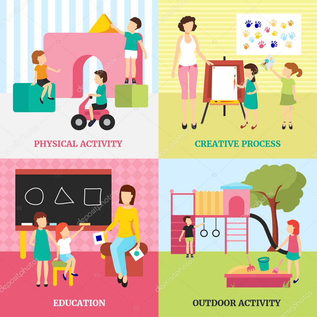 Kindergarten concept icons set with outdoor activities and education symbols flat isolated vector illustration stock vector