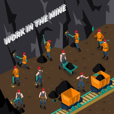 Miner People Isometric Composition