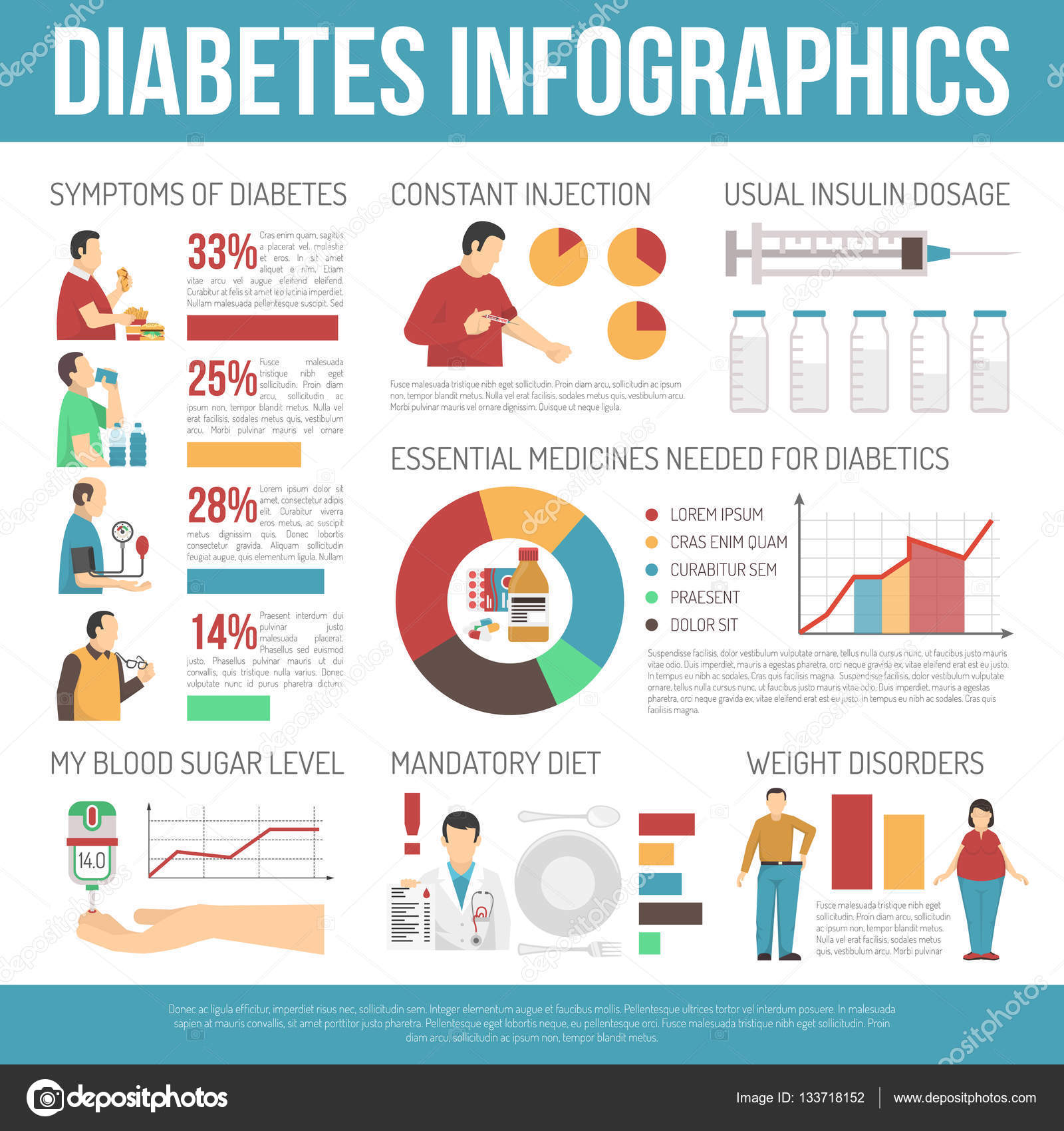 Diabetes Infographics Layout — Stock Vector © macrovector