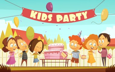 Kids Party Cartoon Background