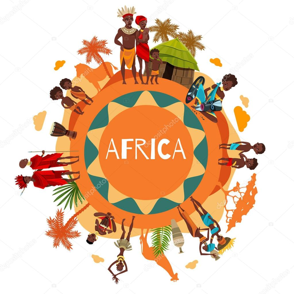 African Cultural Symbols Round Composition Poster