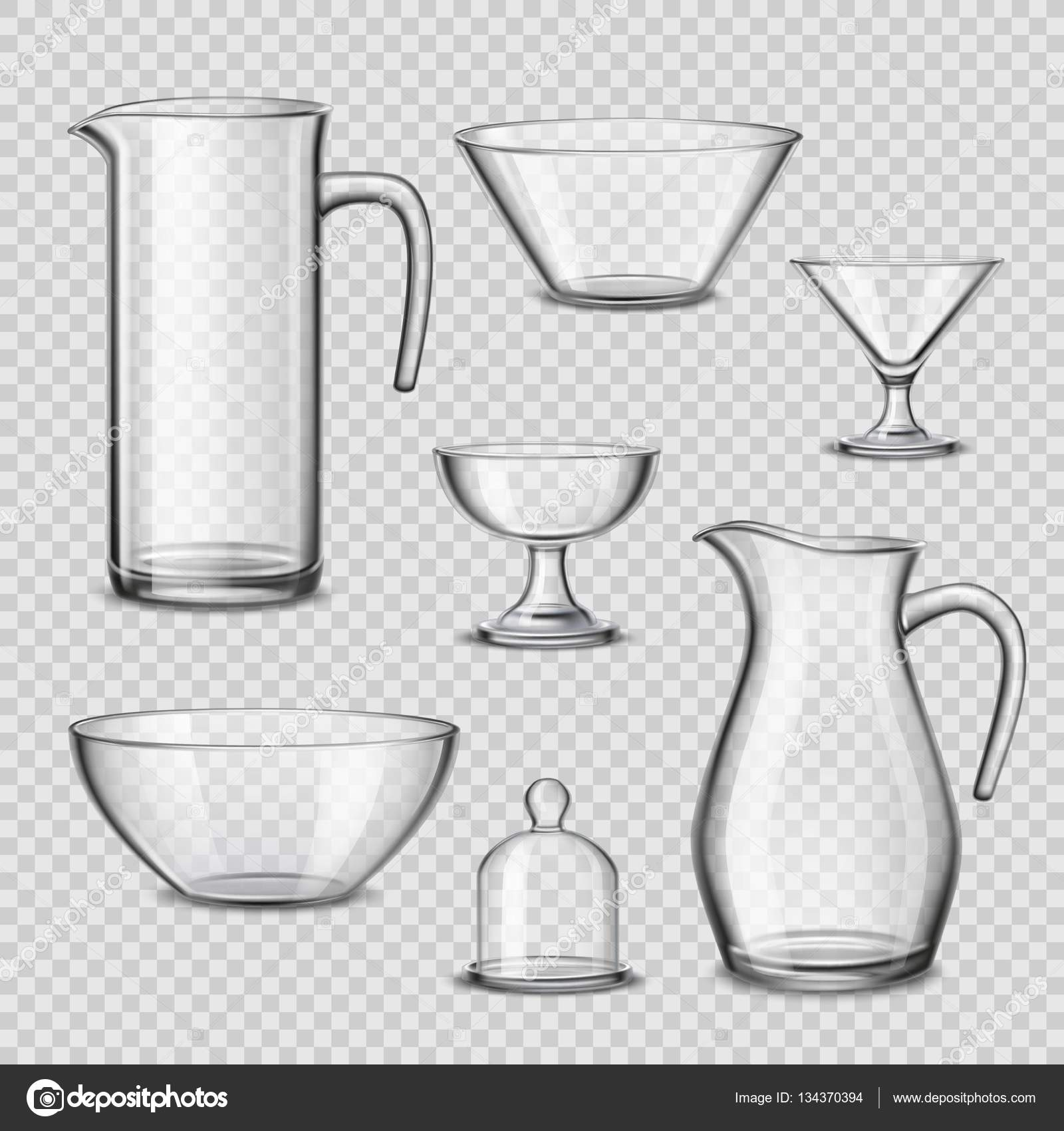 Glass kitchen utensils - Realistic Glassware Kitchen Utensils Transparent Background Stock Vector 134370394