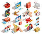 Fotografie Shopping E-commerce Isometric Icons Set