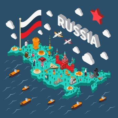 Russia Isometric Touristic Map