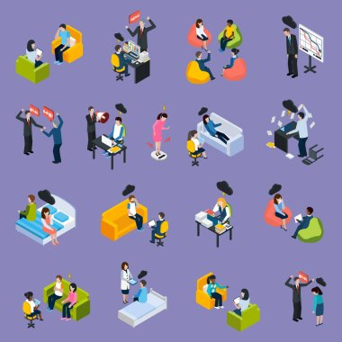 Depression And Stress Isometric Icons