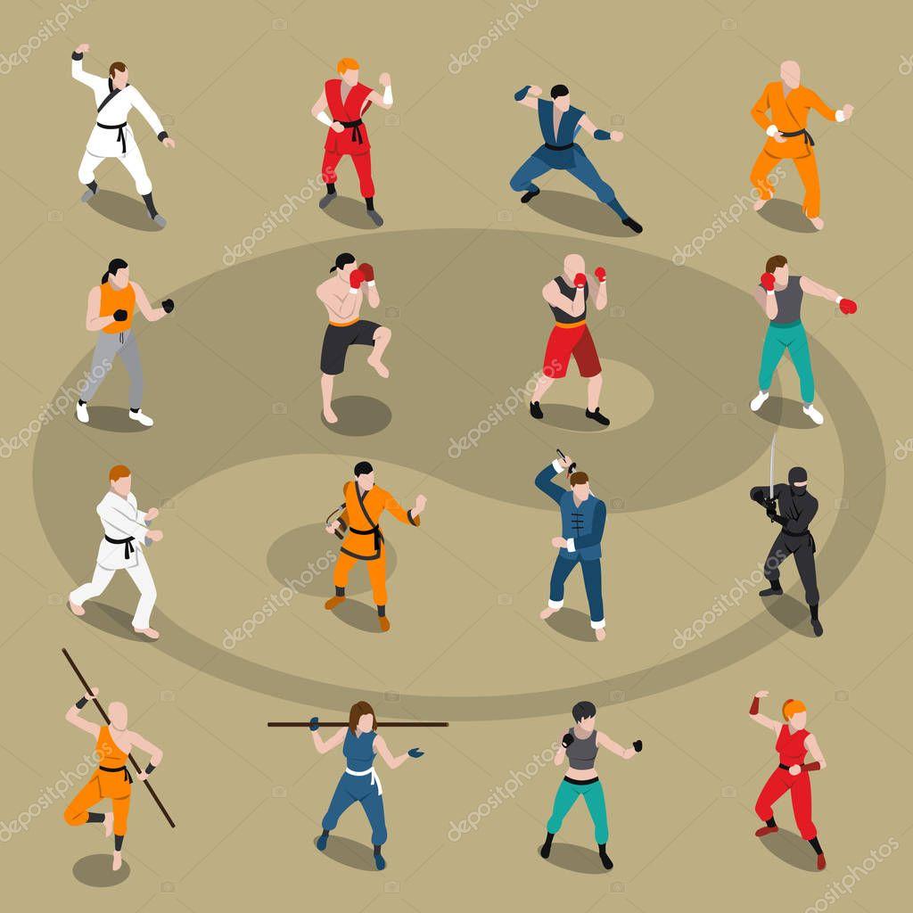 Martial Arts Isometric People Set