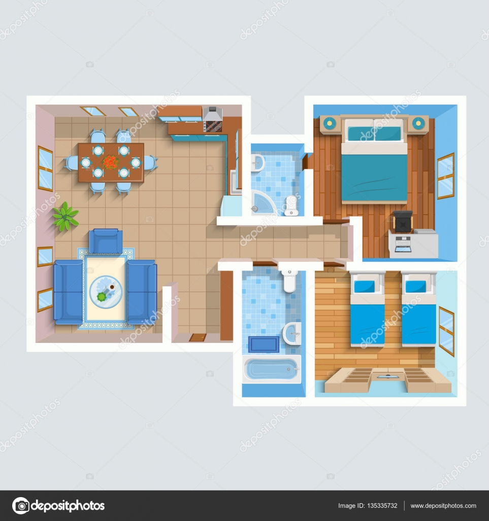 Top view flat interior plan stock vector 135335732 for Flat interior images