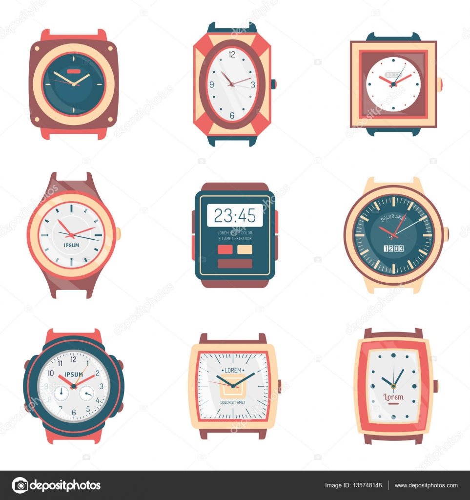 Different Types Watches Flat Icons Collection — Stock ...