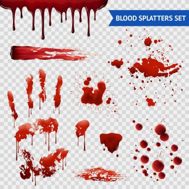 Blood spatters realistic bloodstains patterns set of smears splashes drippings drops and handprint with transparent background vector illustration clip art vector