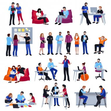Coworking People Isolated Icons Set