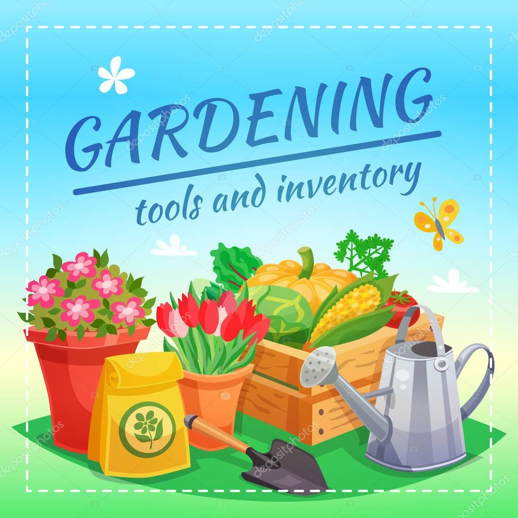 Gardening Tools And Inventory Design Concept