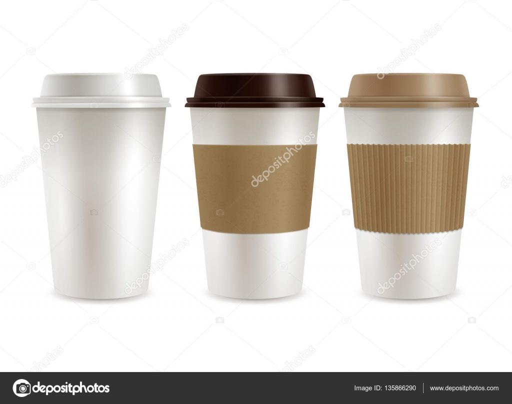 Kaffee aus Kunststoff-Abdeckungen-Set — Stockvektor © macrovector ...