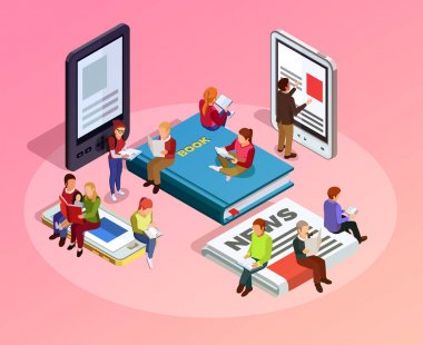 Reading People Isometric Composition