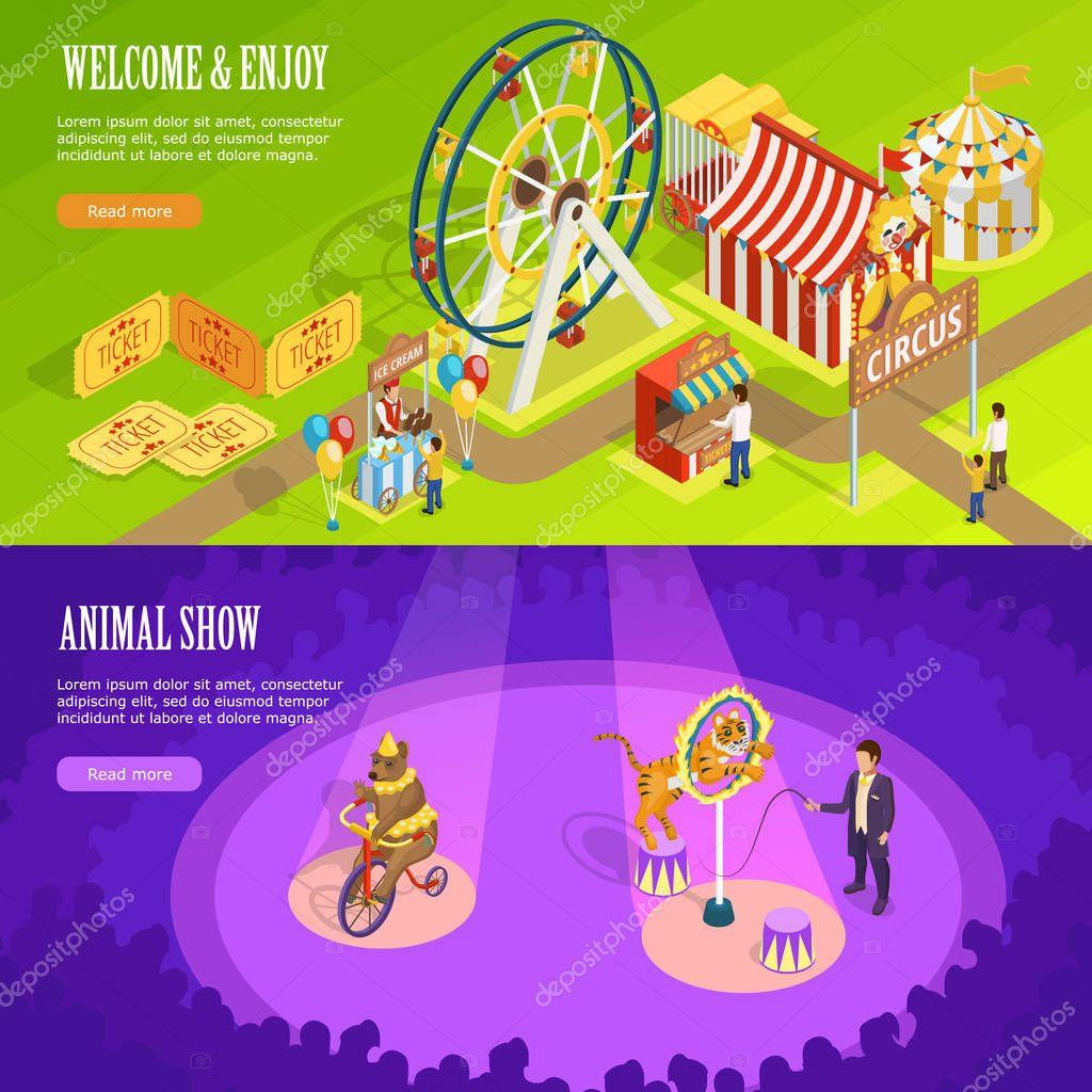 Circus Isometric Horizontal Banners Webpage Design