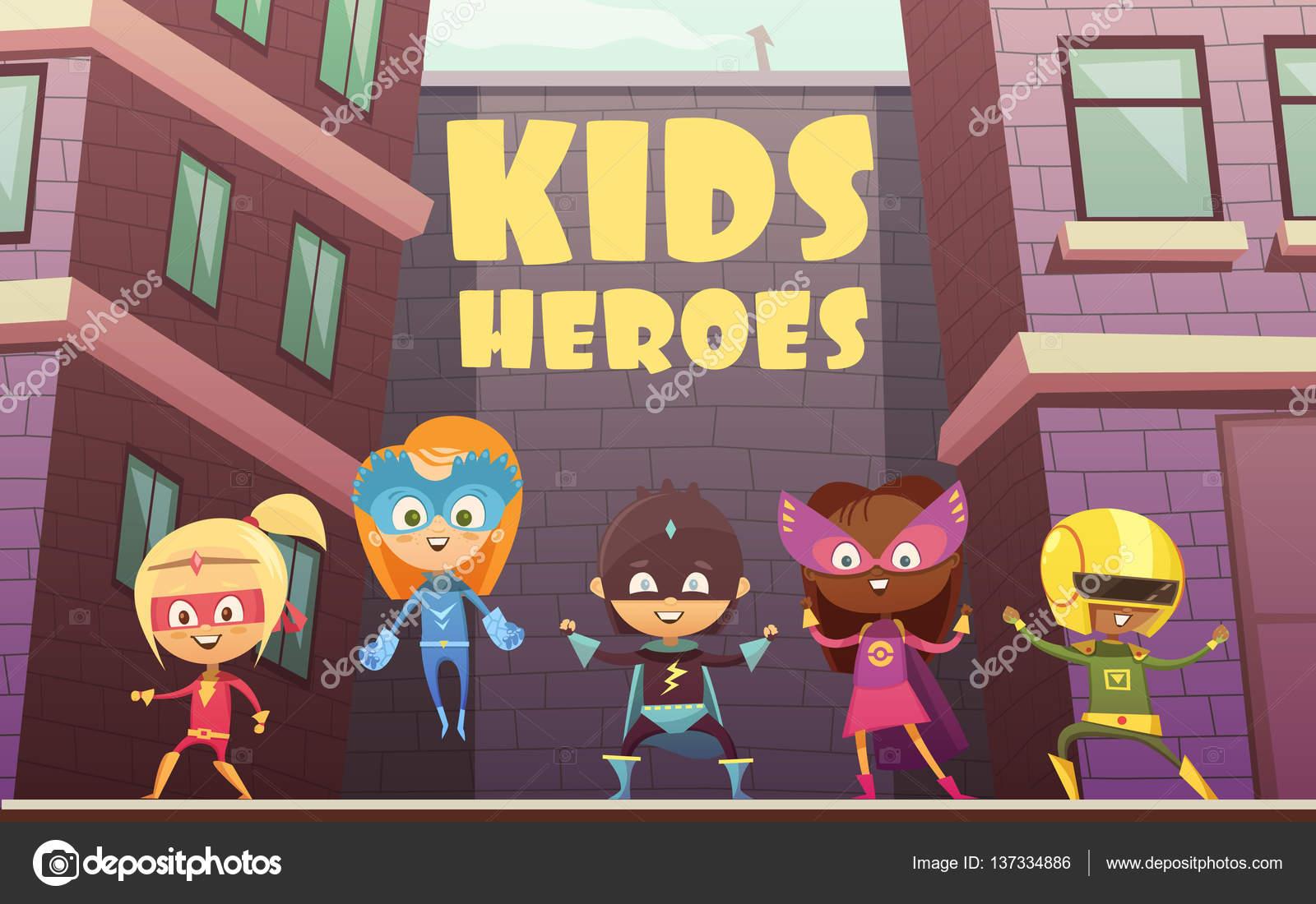 Ilustración de dibujos animados de niños superhéroes — Archivo ...