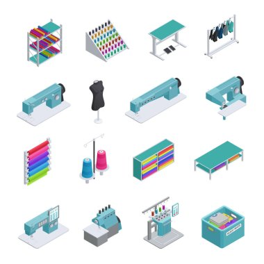 Garment Factory Isometric Icon Set
