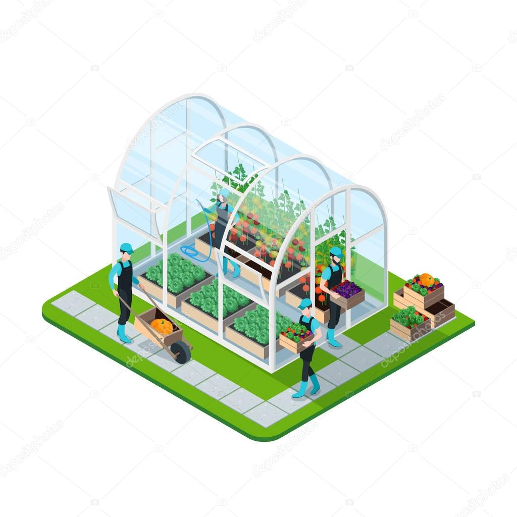 Glass Greenhouse Isometric Template