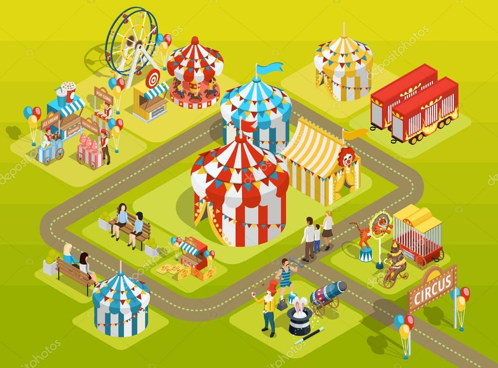 Travel Circus Fairground Isometric Layout Poster