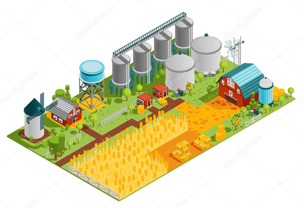 Farm Buildings Isometric Landscape