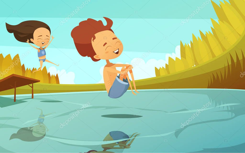 Cartoon Illustration With Kids Jumping Into Lake