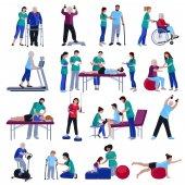 Rehabilitace rehabilitace lidí ploché ikony kolekce