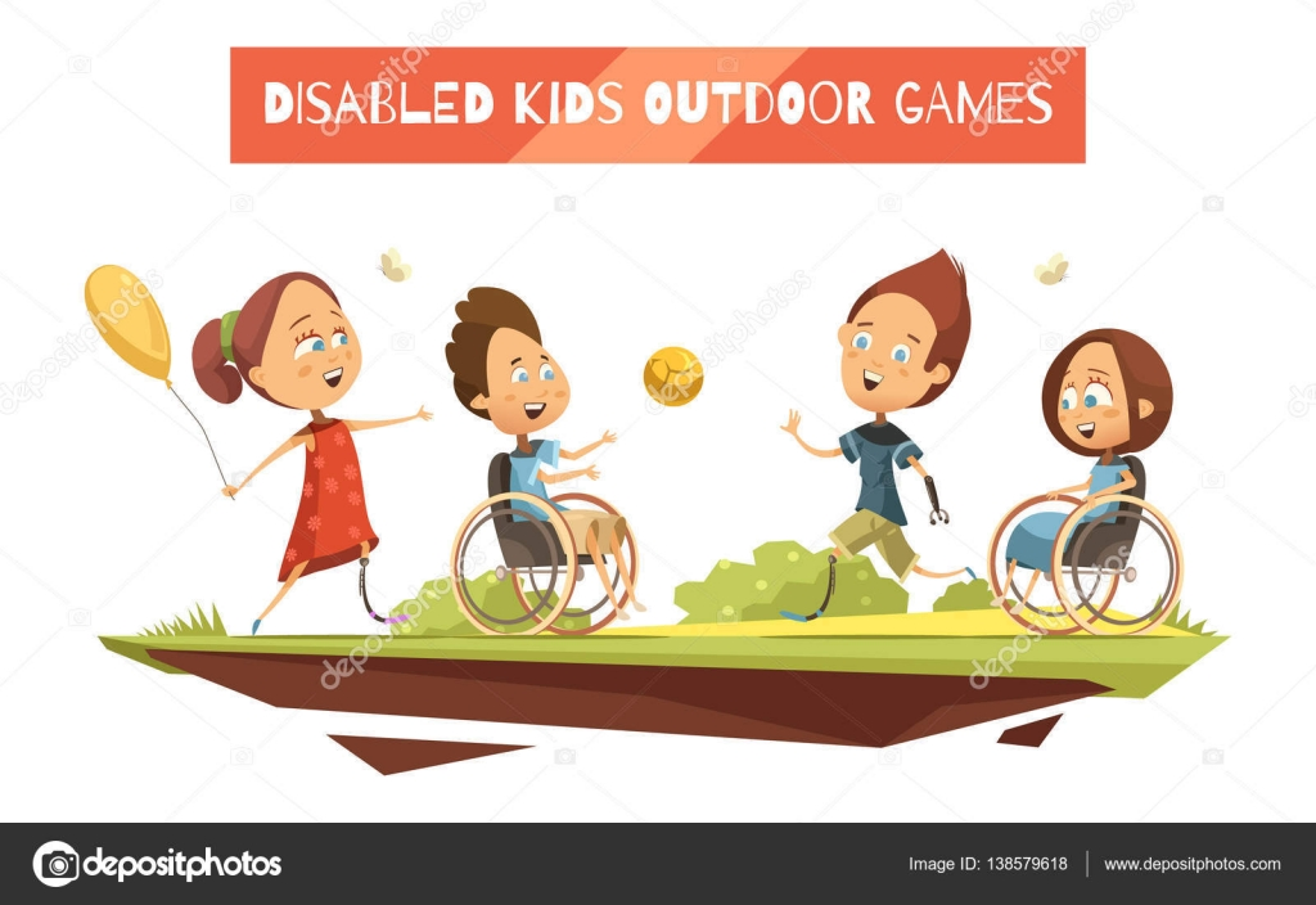 Spiele im Freien für behinderte Kinder-Illustration — Stockvektor ...