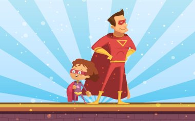 Couple Of Adult And Child Cartoon Superheroes