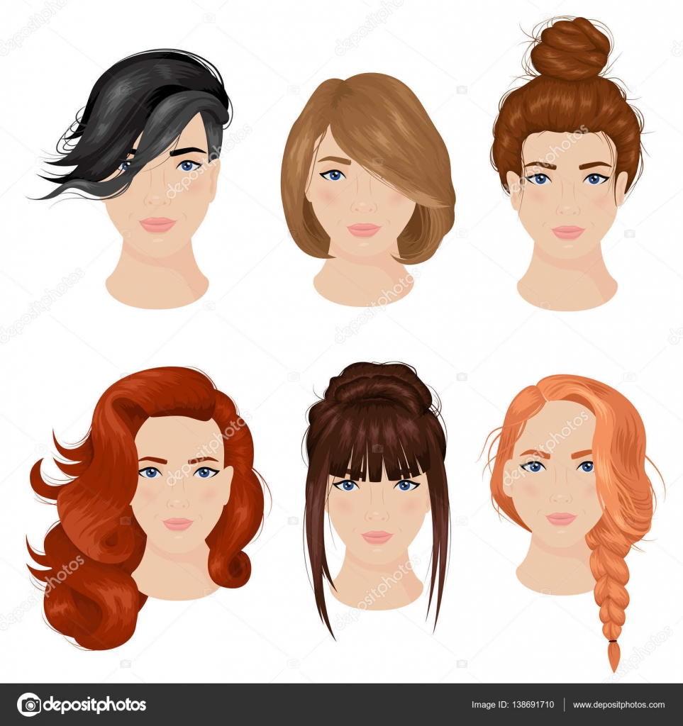Women Hairstyle Ideas 15 Icons Collection Stock Vector Image by ...